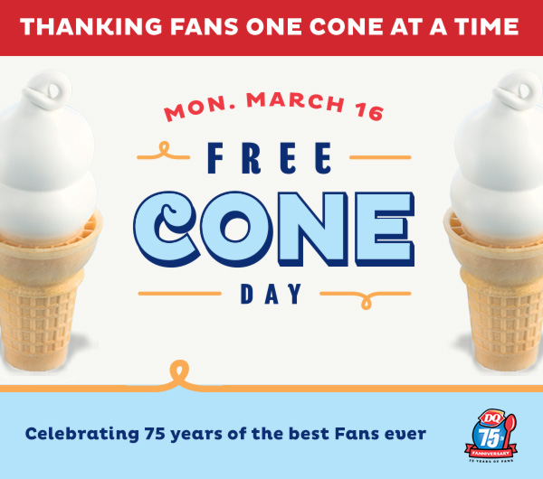 Thanking fans one cone at a time on March 16th